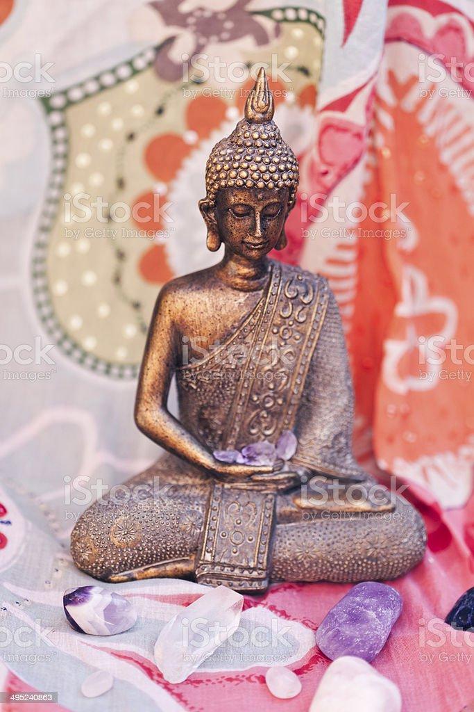 Crystals and Buddha royalty-free stock photo