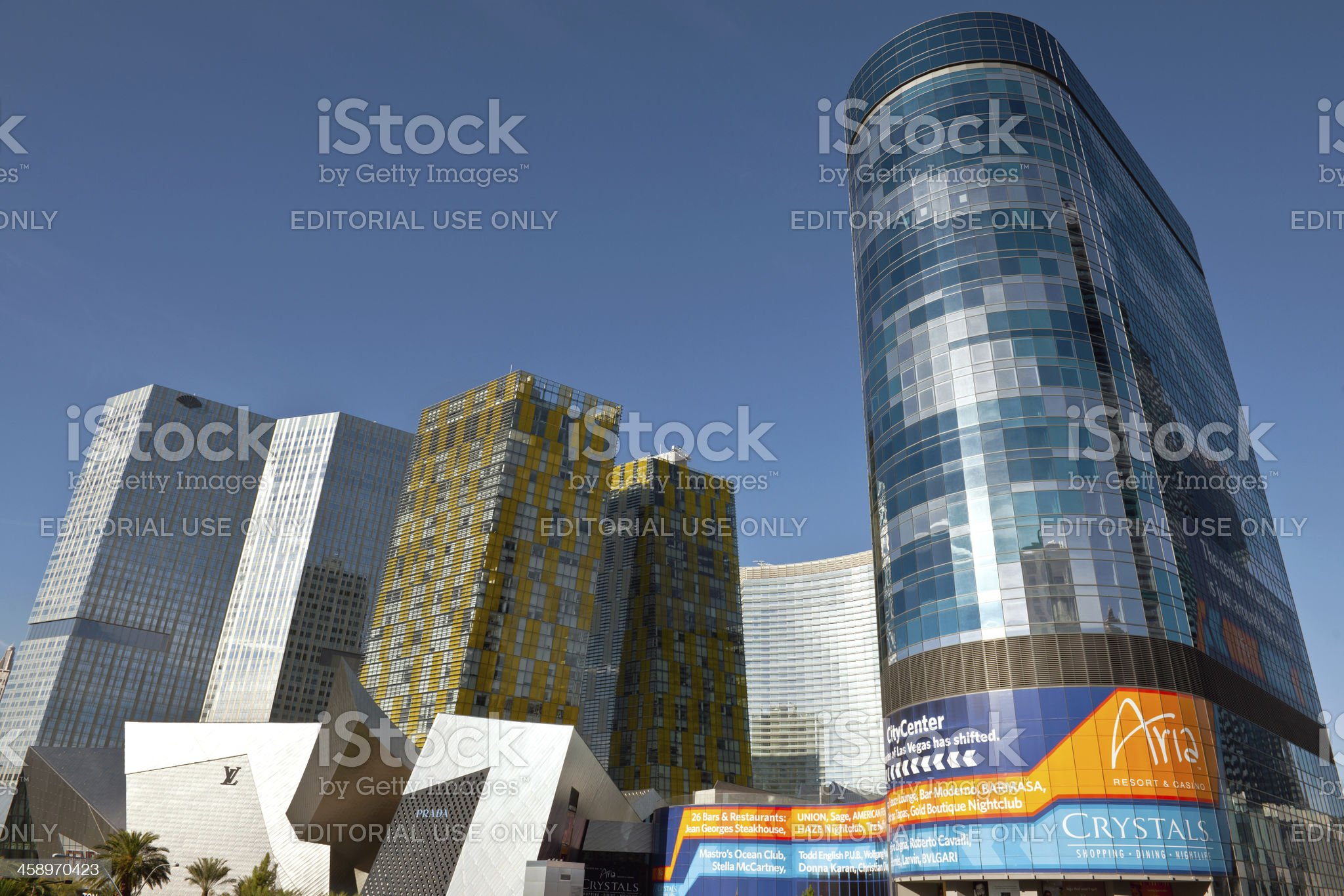 Crystals and Veer Towers in Las Vegas, Nevada USA royalty-free stock photo