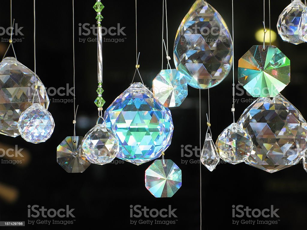 Crystals Diamonds Hanging Glass stock photo