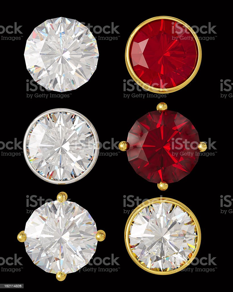 Crystals in gold and silver stock photo