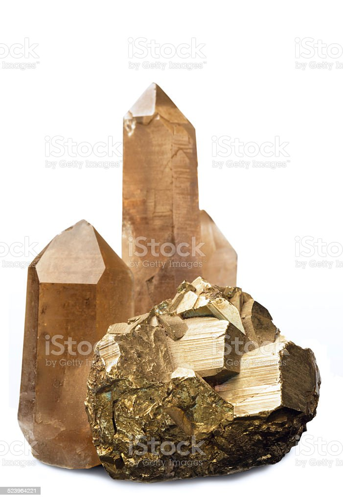 Crystals of quartz and pyrites stock photo