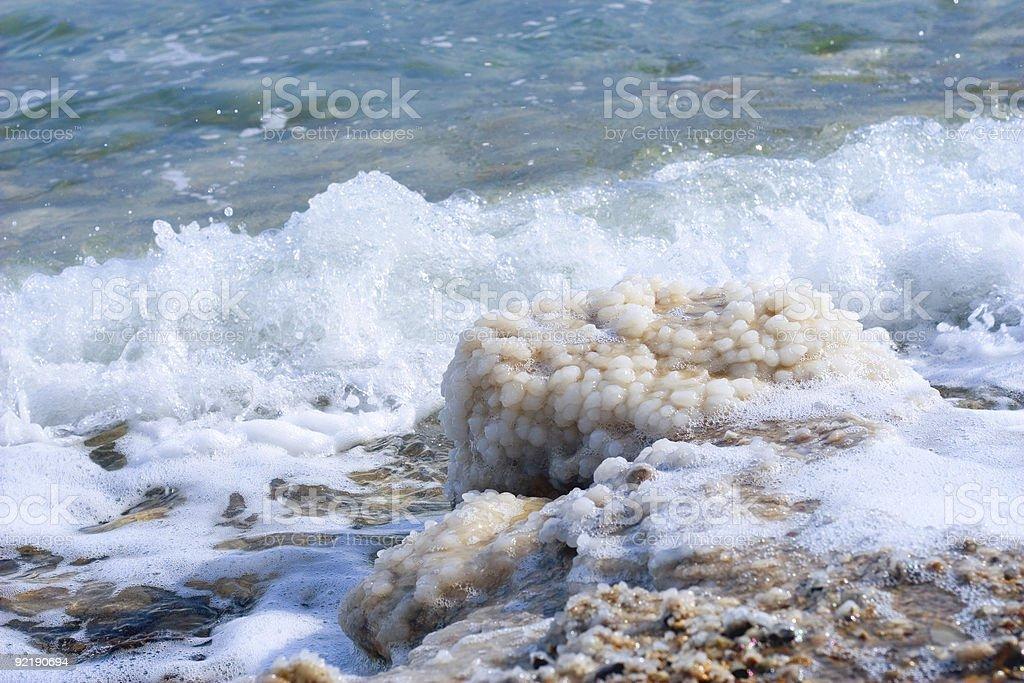 crystals of salt on the Dead Sea stock photo