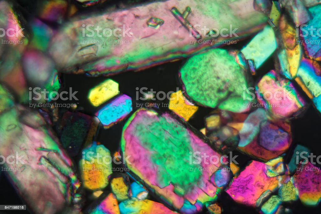 Crystals of sodium borate under the microscope stock photo