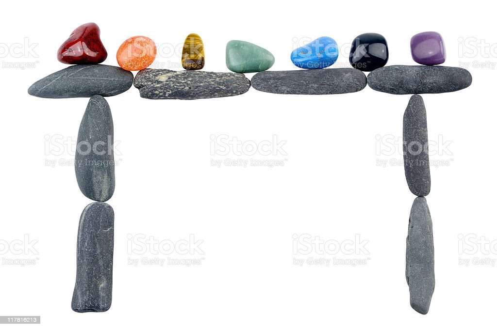 Crystals Resting On Stone Megalith Shape stock photo