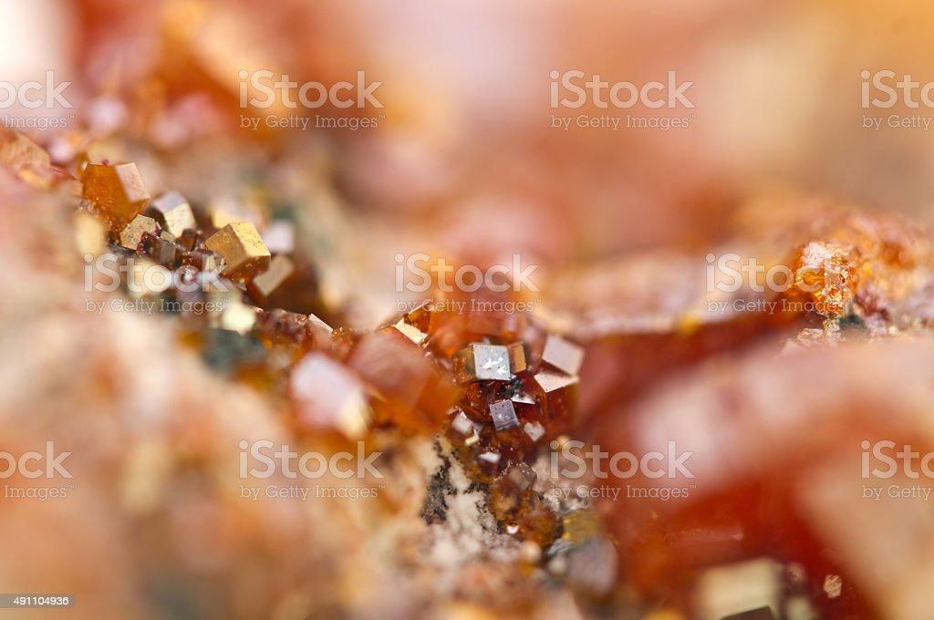 Crystals Vanadinite. Macro. Extreme closeup stock photo