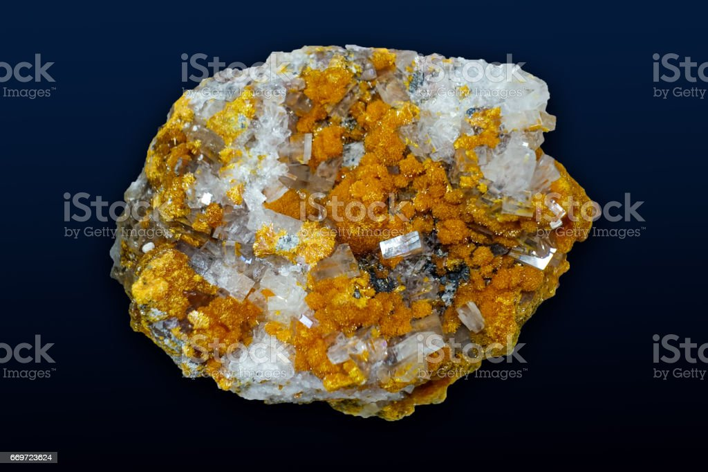 Crystals,orpiment barite on the black background stock photo