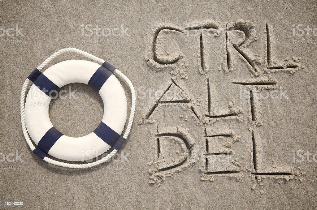 Ctrl Alt Del Message w Lifesaver in Sand stock photo