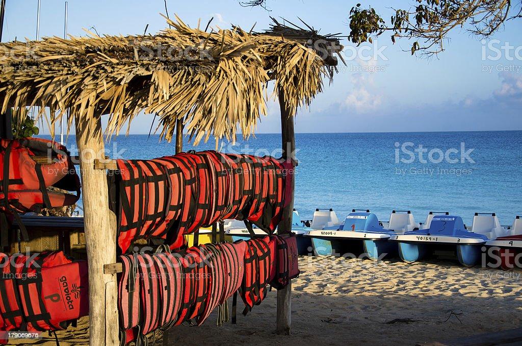 Cuba, beach, sea, Caribbean, life jackets, pedal boat, blue sky royalty-free stock photo