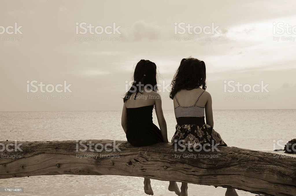 Cuba, beach, sunset, sea, kids, tree stock photo