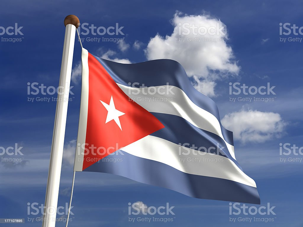 Cuba flag (with clipping path) stock photo