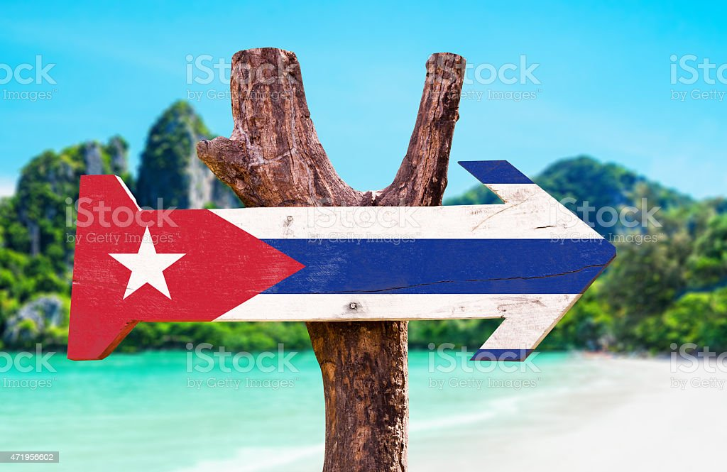 Cuba Flag wooden sign with beach background stock photo