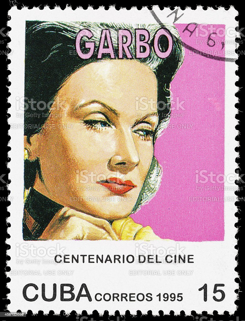 Cuba Greta Garbo postage stamp stock photo