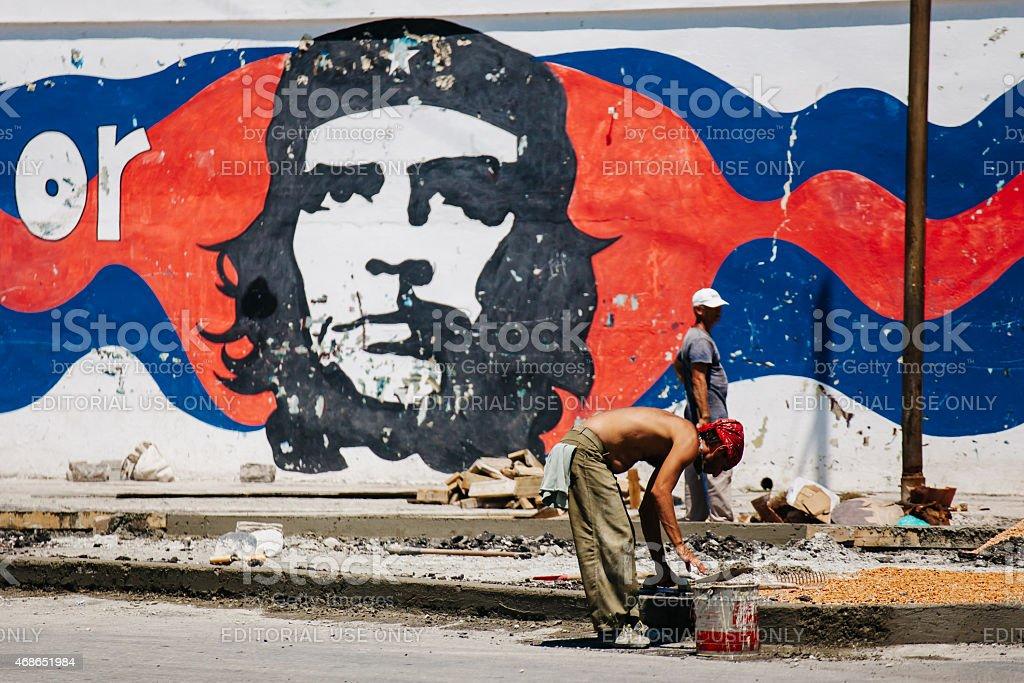 Cuba: Havana Workers & Che stock photo