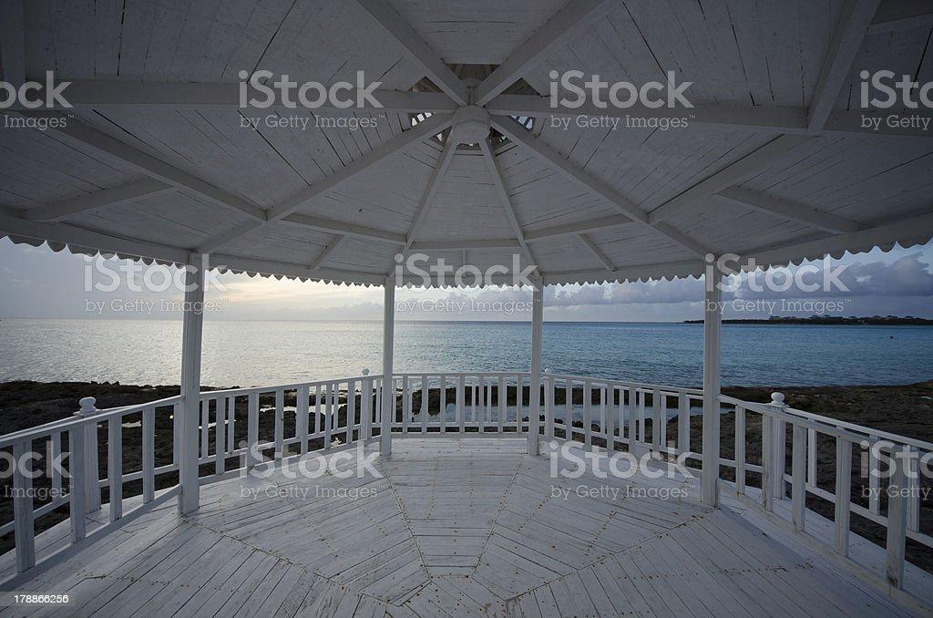 Cuba, Holguin, Caribbean, beach, pavilion stock photo