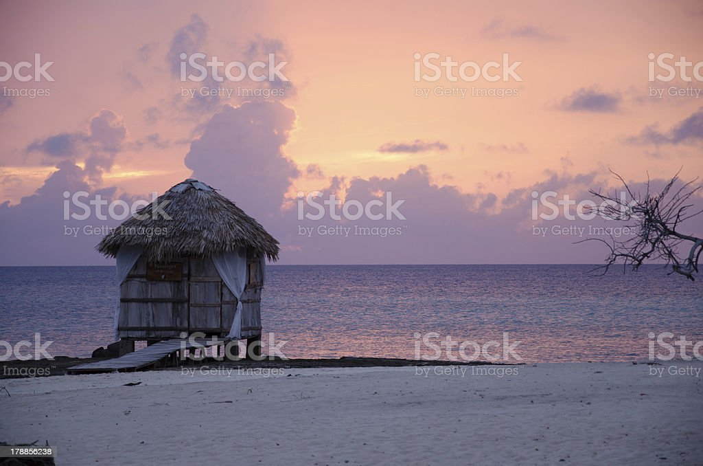 Cuba, Holguin, caribbean, sunset, cabin, beach, paradise stock photo