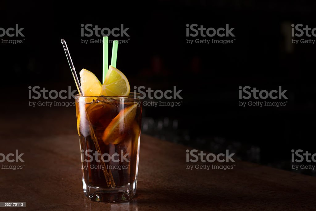 Cuba libre cocktail in a tall glass stock photo
