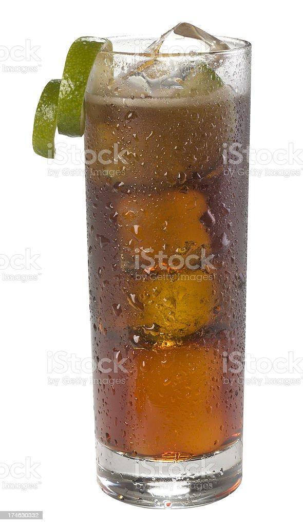 Cuba Libre cocktail(clipping path) stock photo