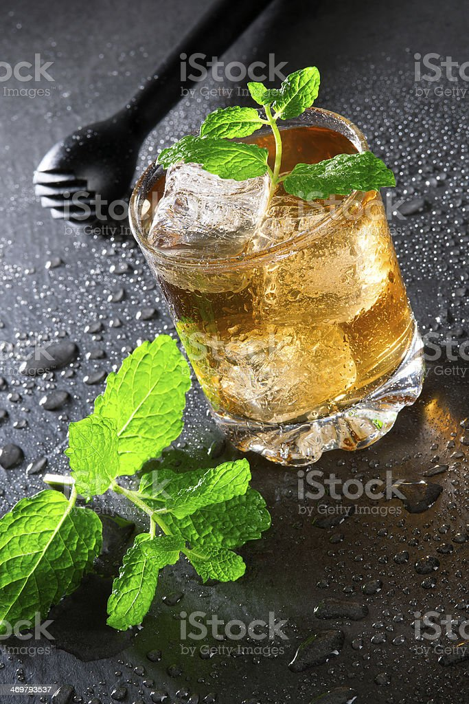 Cuba Libre Drink with mint and Cola stock photo