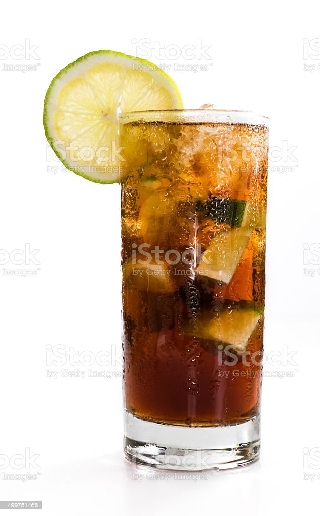 Cuba Libre Longdrink (isolated on white) stock photo