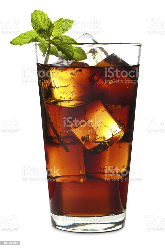 Cuba Libre Rum and Coke Isolated on White Background stock photo