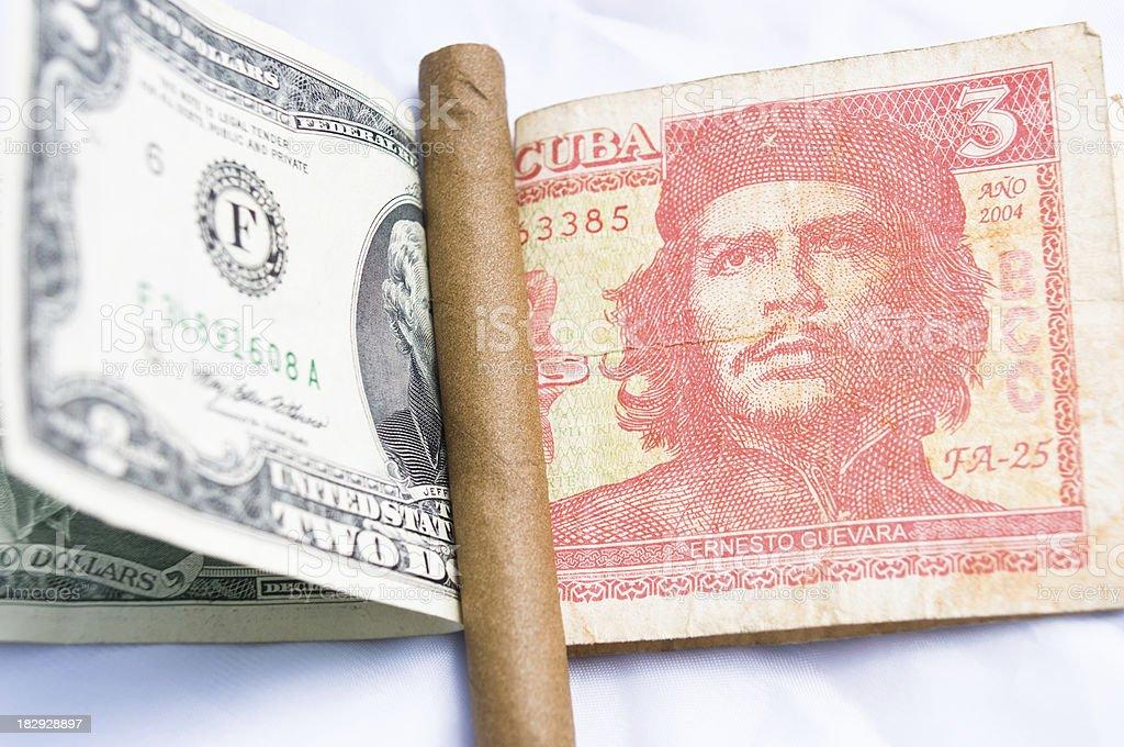 CUba money and American dollar stock photo