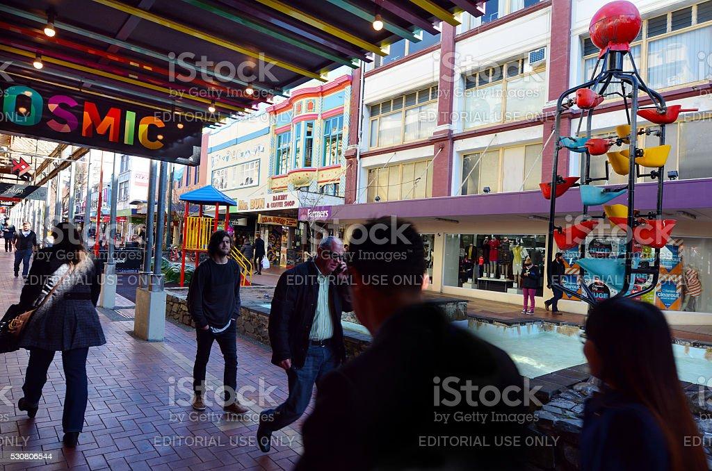 Cuba Street in Wellington New Zealand stock photo