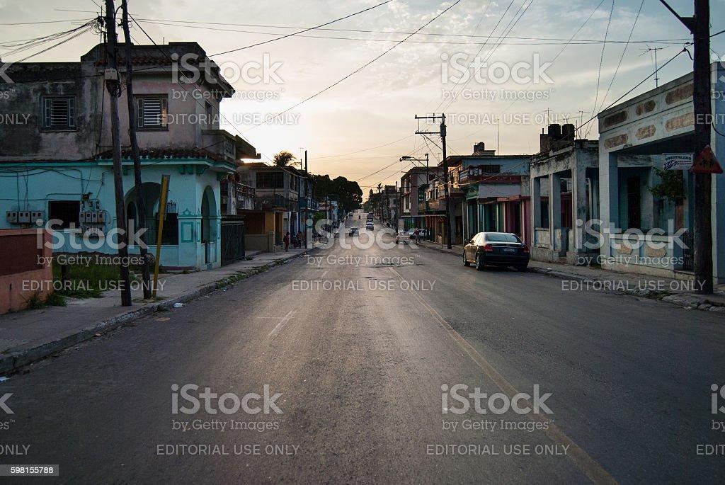 cuba, suburban sunset with eclectic buildings stock photo