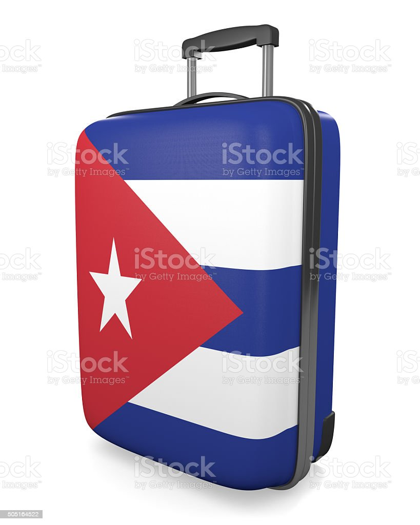 Cuba vacation destination concept of a flag painted travel suitcase stock photo