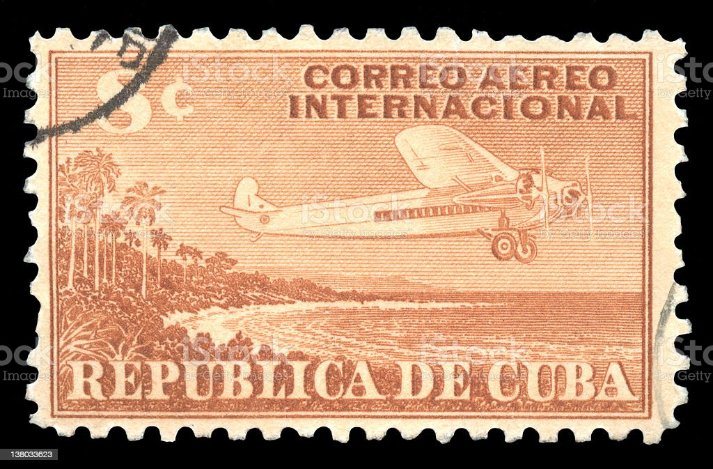 Cuba Vintage Airmail Postage Stamp royalty-free stock photo