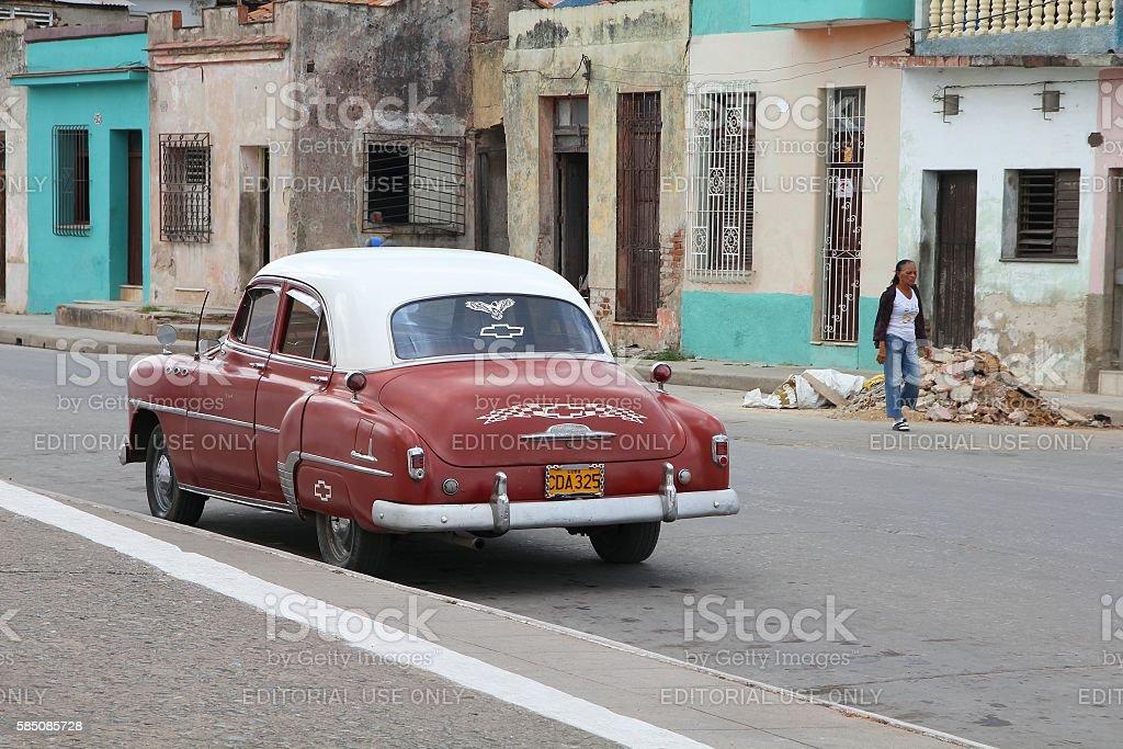 Cuba vintage car stock photo