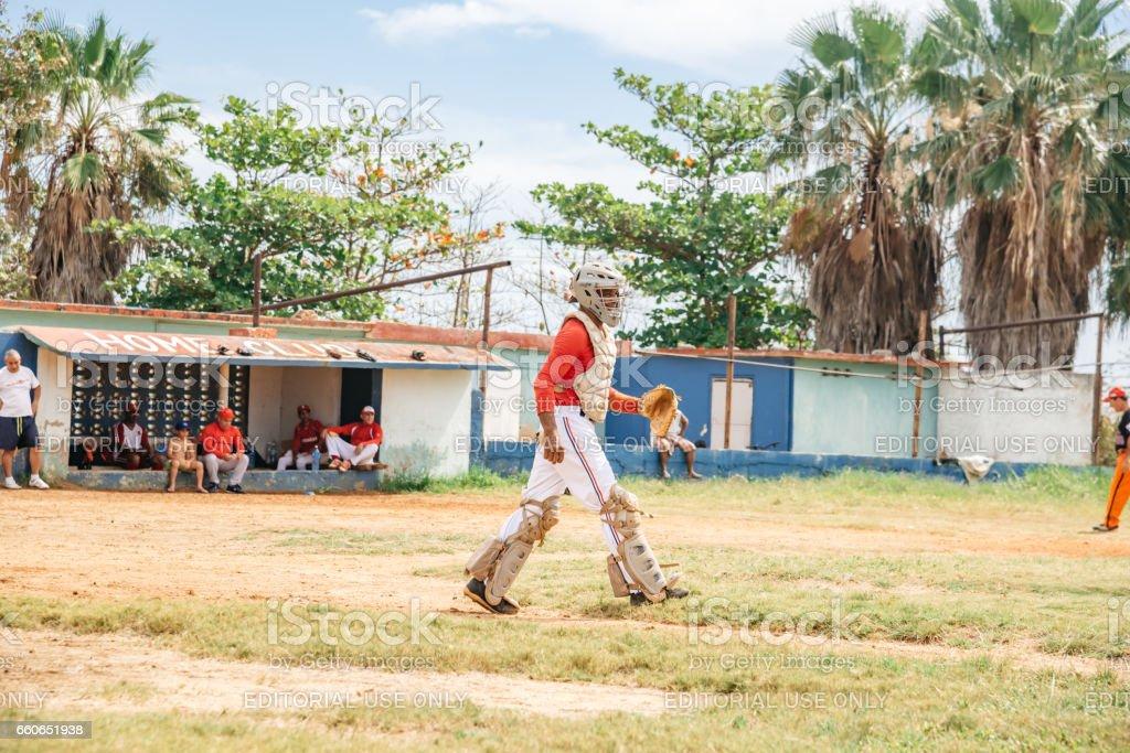 cuban baseball player on trainings ground in Varadero stock photo
