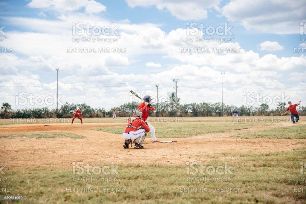 cuban baseball player running on trainings ground in Varadero stock photo