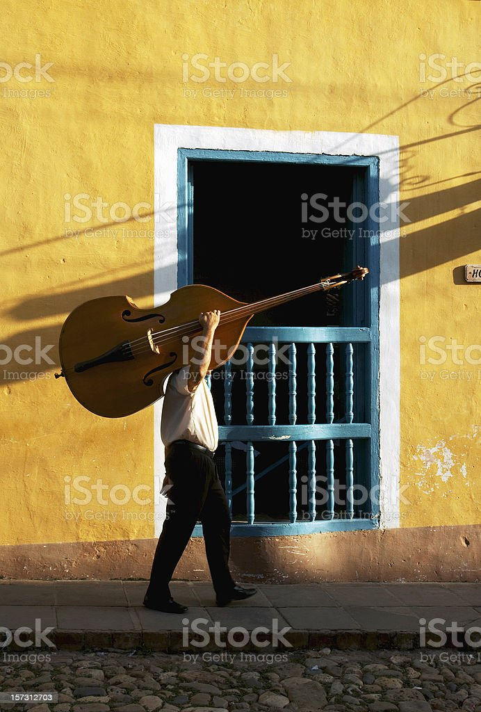 Cuban bass player stock photo