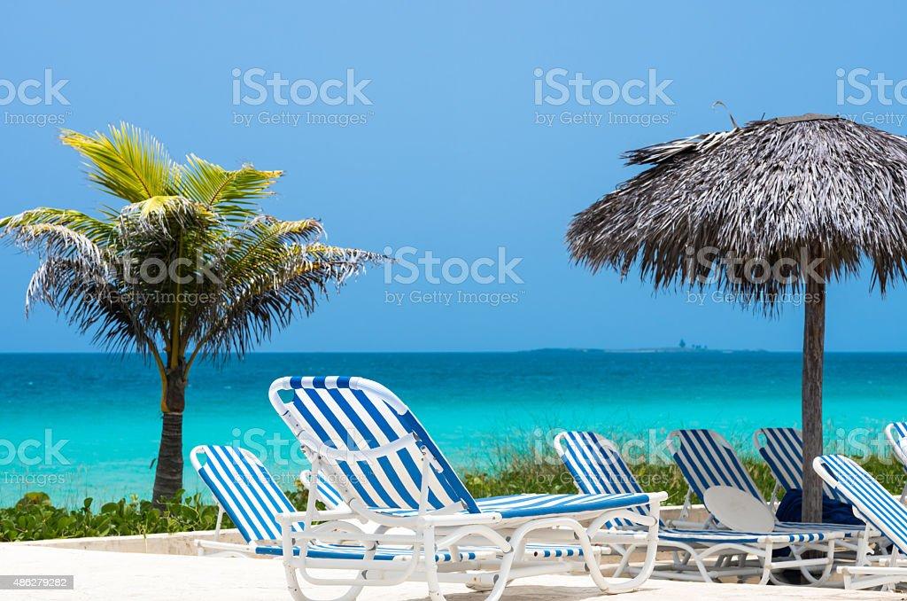 Cuban beach with sun lounger palms and sunshade hut stock photo