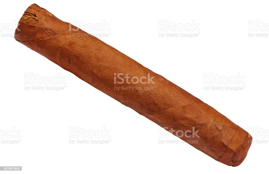 Cuban brown cigar isolated stock photo