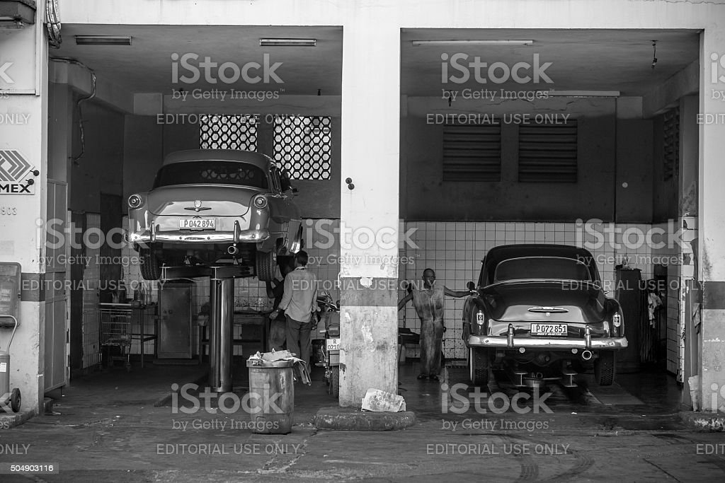 Cuban Car Wash stock photo