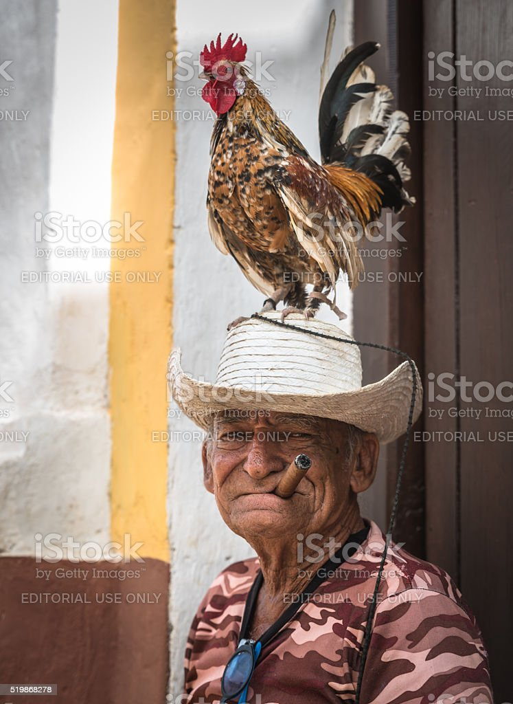Cuban chararacther on city streets stock photo