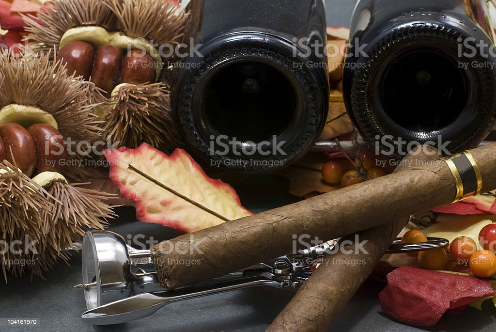 Cuban cigar, Cubanchestnuts and wine royalty-free stock photo