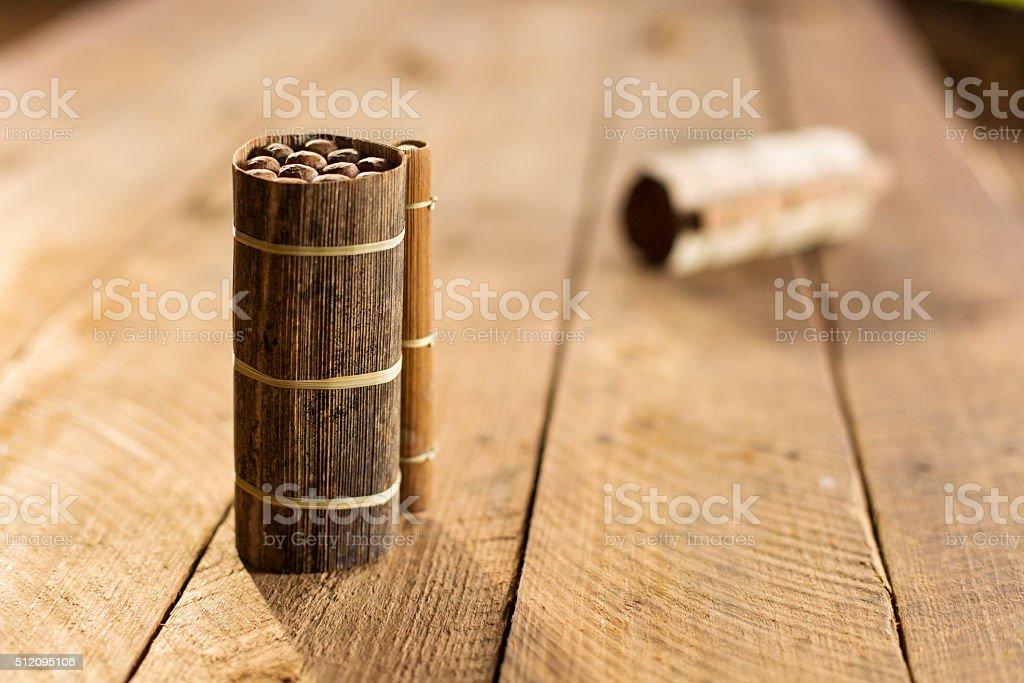 Cuban cigars in traditional artisan palm leafs box, Cuba stock photo