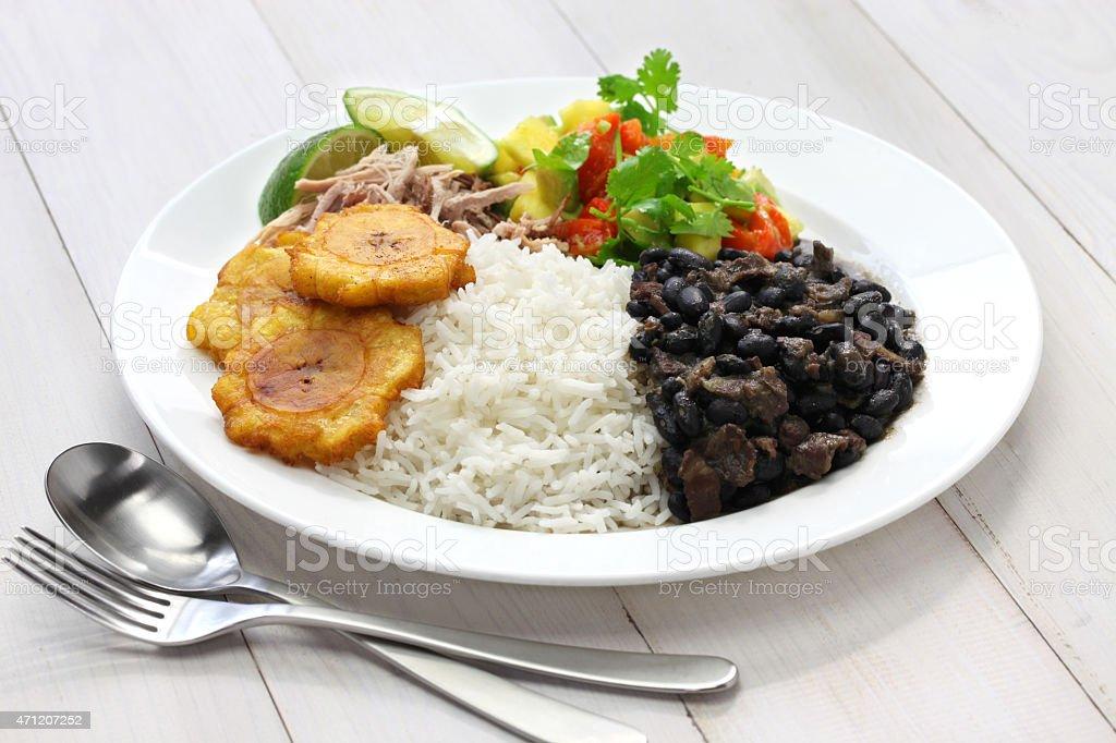 cuban cuisine, arroz con frijoles negros stock photo
