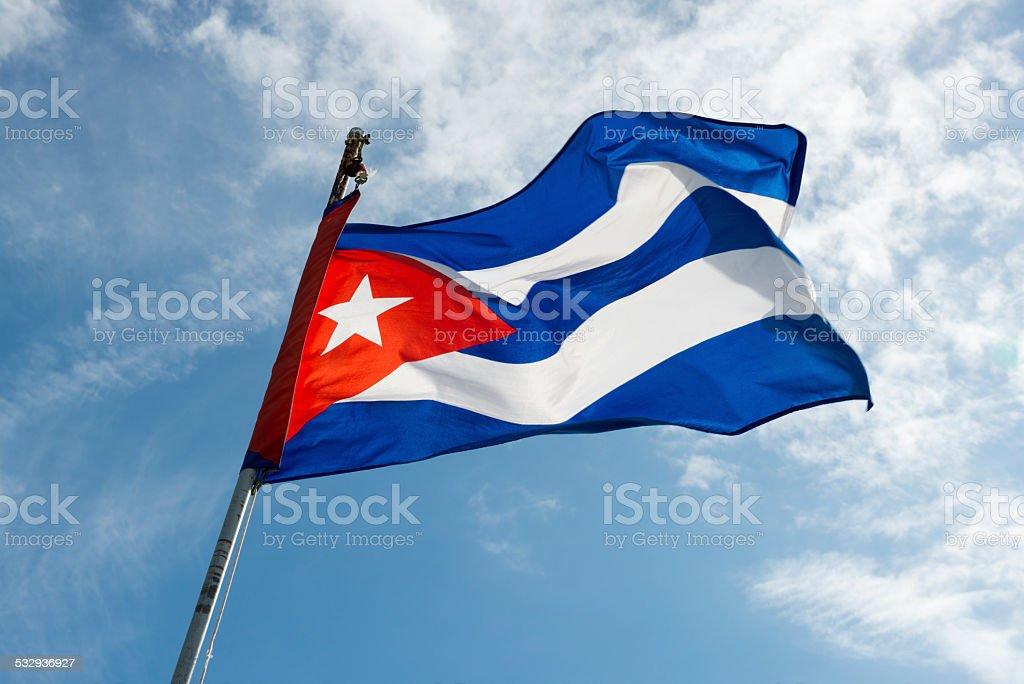 Cuban flag against sky stock photo