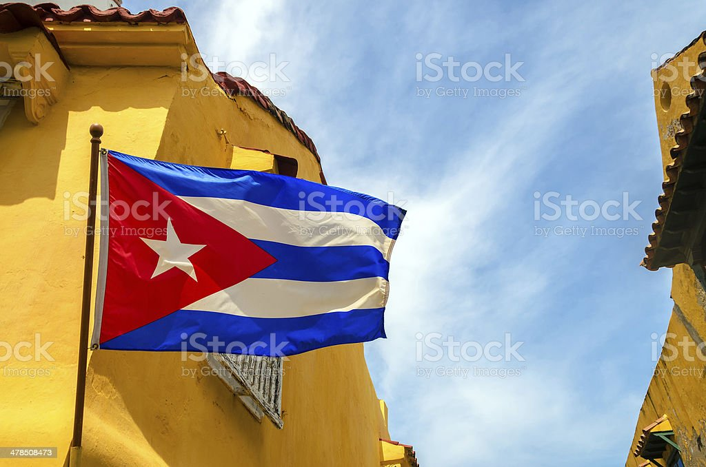 Cuban Flag and Colonial Buildings stock photo