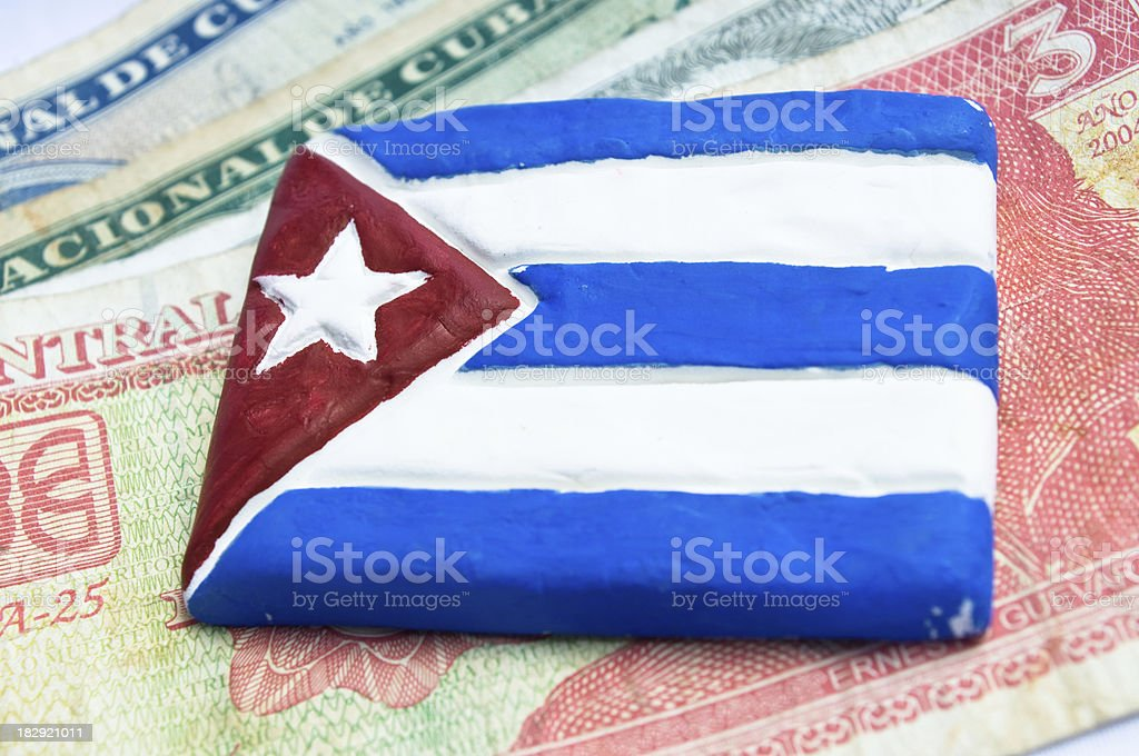 cuban flag and money stock photo