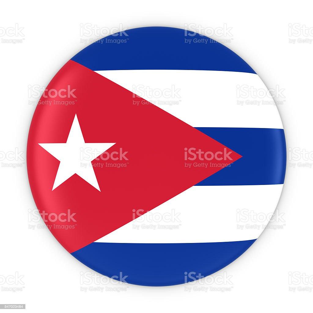 Cuban Flag Button - Flag of Cuba Badge 3D Illustration stock photo