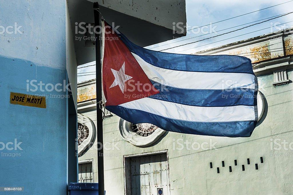 Cuban Flag flying proudly on building in Havana, Cuba stock photo
