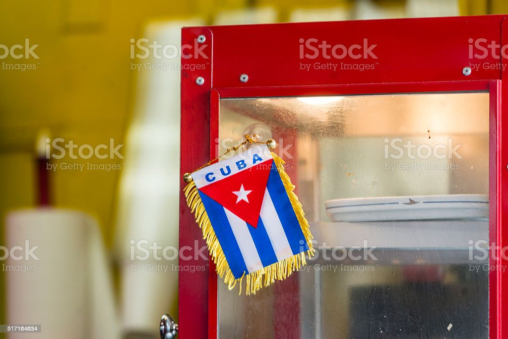 Cuban Flag in Little Havana Calle Ocho Cafe Miami stock photo