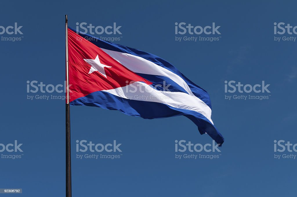 Cuban flag in the wind stock photo
