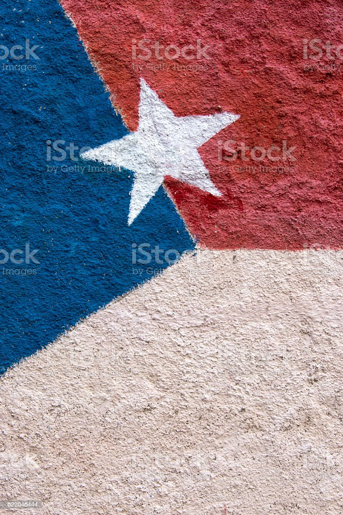 Cuban flag painted on a wall. stock photo