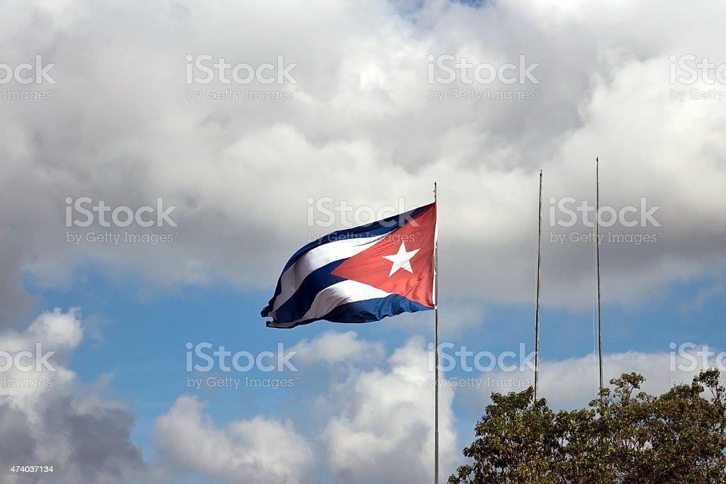 Cuban flag waving at Che Guevara Mausoleum, Santa Clara stock photo