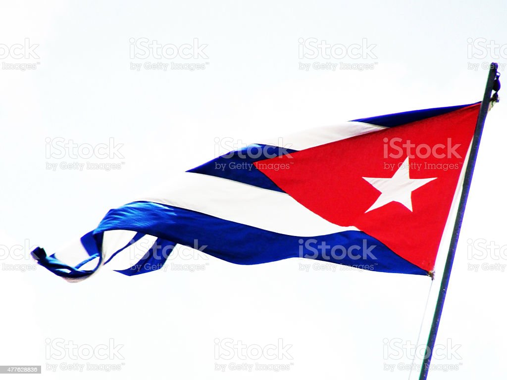 Cuban Flag Waving In Havana stock photo